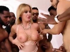 Big tits milf interracial with facial