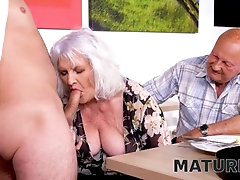 'MATURE4K. Dinner in cafe ends for mature with kinky sex in front of spouse'