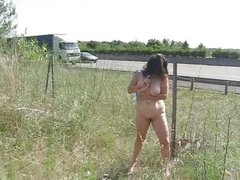 French mature slut showing naked near motorway. Home video