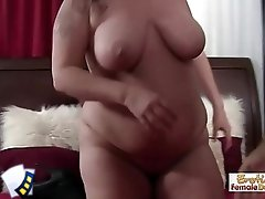 Chubby brunette MILF can't get enough cock