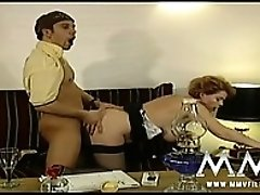 Nasty mature bitch in lingerie eats his cock and gets banged