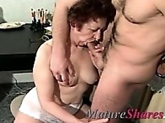 Brunette granny gets her pussy nailed and then he eats her out
