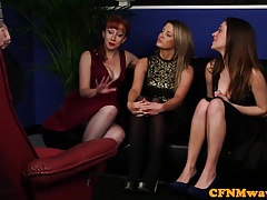 Classy british femdoms suck sub in cfnm group