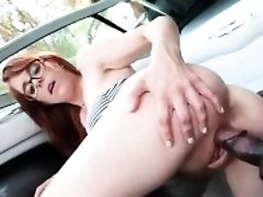 Nasty redhead Juliette swallows his dark meat for a hard throat fuck