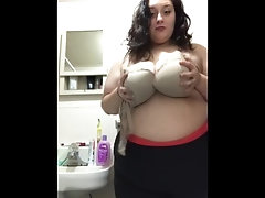 Milf with huge tits does strip tease!!