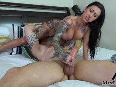 'Busty Tattooed Latina Babe Lily Lane Plays With A Big Dick!'