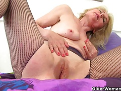 British granny Diana going solo in fishnets