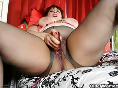 Busty milf's night out starts with a masturbation session