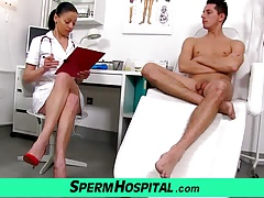 Bossy head nurse milf Renate tugjob with young male
