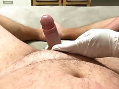 Milf Wife gives sloppy handjob with lubricant in doctor gloves and massages balls and prostate