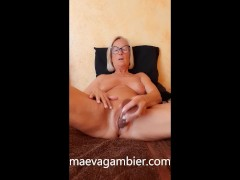'BLONDE MILF COUGAR MASTURBATING WITH A BIG BLACK DILDO IN THE PUSSY'