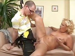 Blonde mature cougar pays the plumber with a different form of trade