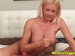 Bigtitted cougar mom tugging pov guy