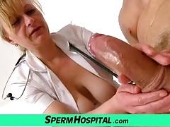 Doctor-patient handjob by uniform cougar Gabina
