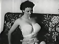 Gentle Girl Undressing and Posing (1950s Vintage)